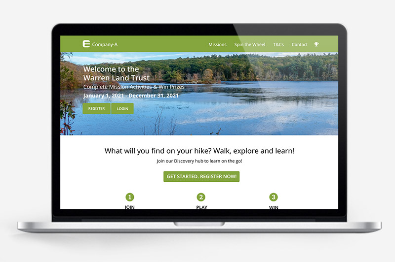 Hikes & Trails: contactless & virtual engagement preview on laptop