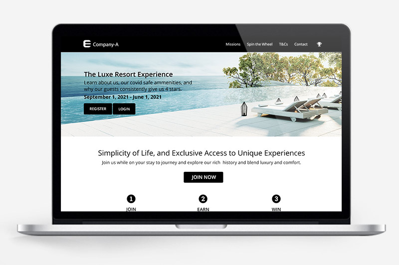 Resort: Contactless & Virtual Engagement preview on laptop